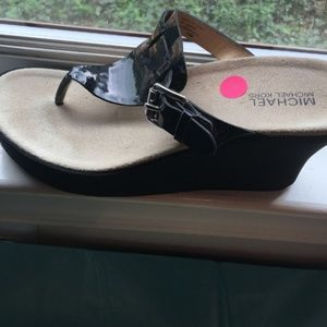 MK Patent leather wedge thongs